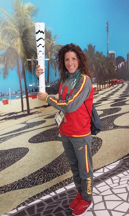 Beatriz Pascual en la Vila olímpica con nuestra nutrición deportiva
