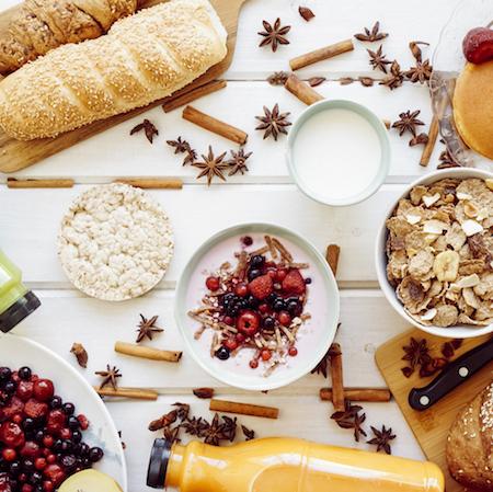 Desayuno saludable con hidratos de carbono