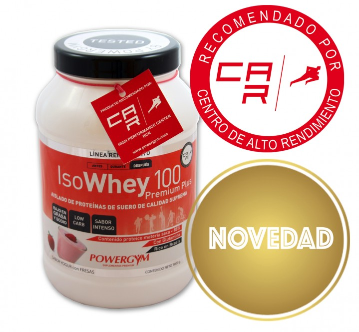 isowhey 100 premium sabor yogur con fresas, proteína isolada de primera calidad